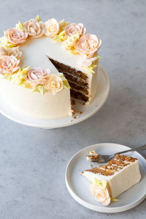 Carrot Cake Recipe with buttercream flowers
