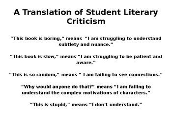 Teenage Literary Criticism--a Translation