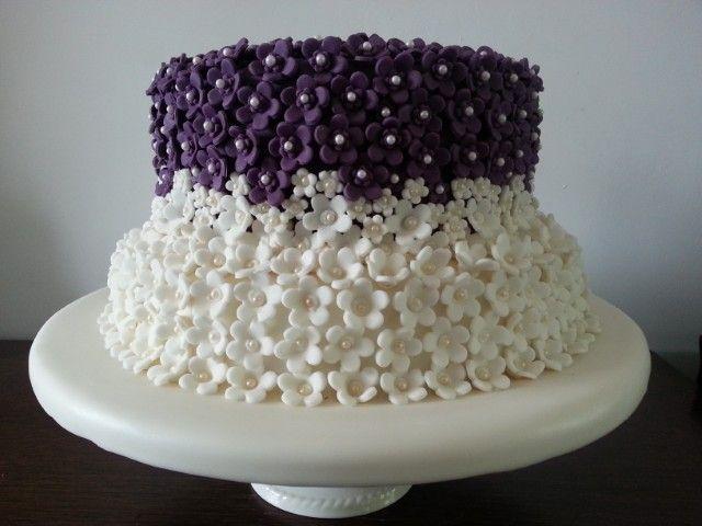 Purple and Ivory Blossom Wedding Cake