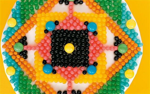 Jellybean cake by Cressida Bell. Cressida uses sweets for her intricate cake decorating