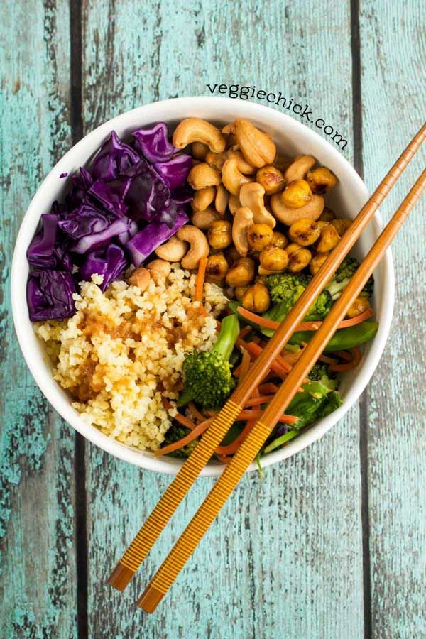 Stir Fry Zen Crunch Bowl - cashews, cabbage, broccoli, greens, quinoa, and more
