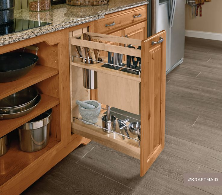 Empty Kitchen Cupboard: Base Pantry Pull-Out Utensil Storage