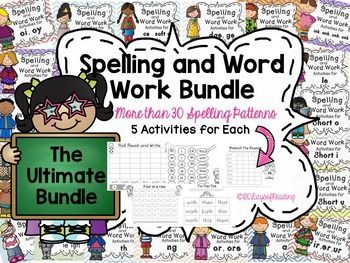 This is a HUGE Packet of activities. It is the BUNDLE of ALL of my $.50 Spelling and Word Work Packets. Each is low-ink, and no-prep.  Just print and play.  More than 30 Spelling Patterns are covered.  They work great as a Word Work, Phonics, or Spelling Center.