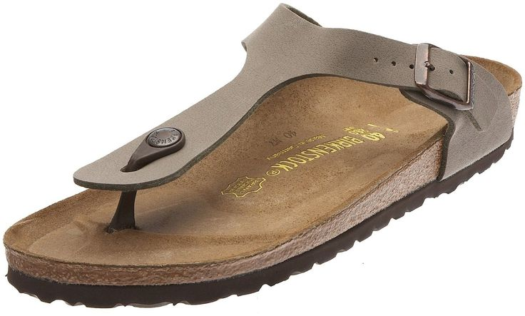 Birkenstock Gizeh Birko-Flor Women's Thong Narrow Width Sandals, Stone, 38 N EU Narrow Width (US Women's 7-.7.5). Birkenstock Gizeh Birko-Flor Women's Thong Sandals; Narrow Width. Upper material: Birko-FlorTM - Made of acrylic and polyamide felt fibers, this material is a soft fabric with a smooth leather-like finish. Footbed: The original Birkenstock footbed - Featuring pronounced arch support, deep heel cup, and roomy toe box. Footbed molds and shapes to your foot. Sole material: EVA -...