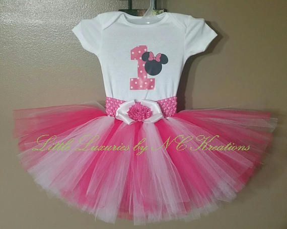 Pink and White Minnie Birthday Tutu Outfit