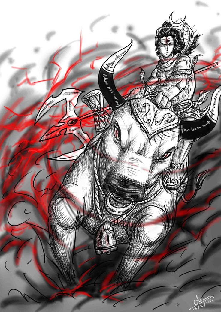 Anime sketch: Lord Shiva and Nandi by nairarun15.deviantart.com on @deviantART