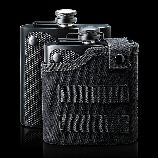 Fill this Tactical Drinking Flask with 6 oz. of your favorite beverage and toss it in your bag, slide it onto your belt, or use a clip to hook it to your favorite accessory's MOLLE webbing.