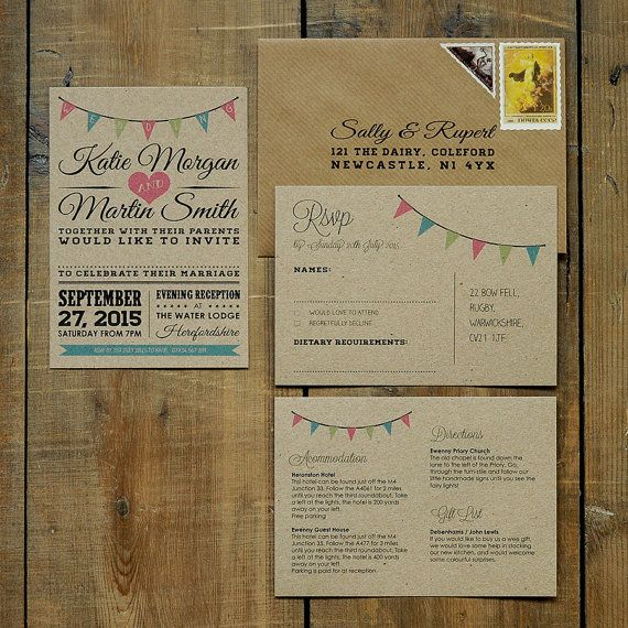 Vintage Bunting Wedding Invitation Suite & Save the Date - On Brown Kraft Recycled Card