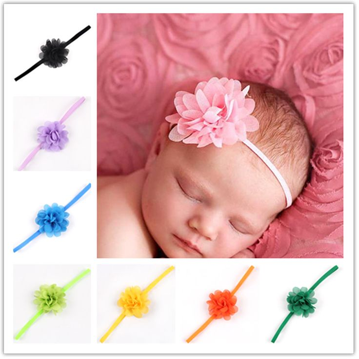 Newborn Baby Girls Satin Ribbon Flower Headbands  Photography Props Infant Baby Headband children Accessories