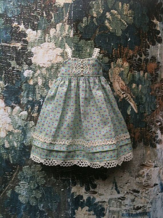 Duck-egg blue shift dress. This is a doll dress, but it would be beautiful for a little girl, too.