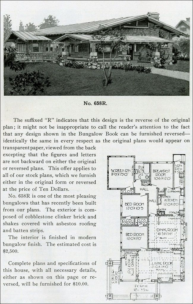 1910 - The Bungalow Book. Cobblestones and a low-slung, cross-gabled roof make this the quintessential California Bungalow.