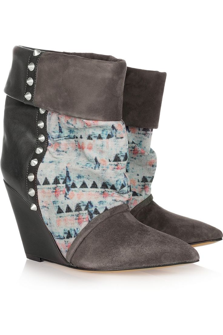 Isabel Marant|Kate suede, leather and corduroy wedge boots
