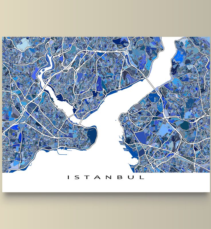 Had a great trip to Istanbul #Turkey? Planning a trip to Istanbul? Or just lucky enough to live there? Then this Istanbul map is for you!  This Istanbul #map has an city street #art design made from of lots of little #blue shapes. Each shape is actually a city block or a piece of land - and these shapes combine like a puzzle or mosaic to form this #Istanbul print. #TravelArt #TravelMap