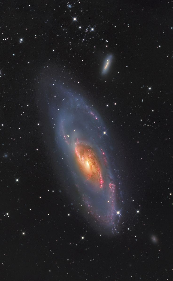 """thedemon-hauntedworld: """"M106 Messier 106 is a spiral galaxy in the constellation Canes Venatici. It was discovered by Pierre Méchain in 1781. M106 is at a distance of about 22 to 25 million..."""