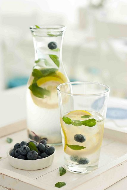 Homemade blueberris, mint and lemon flavoured water (mix lemon juice, mint leaves and bluberries with fresh water and ice, let stand in refrigerator for a few hours and serve!)