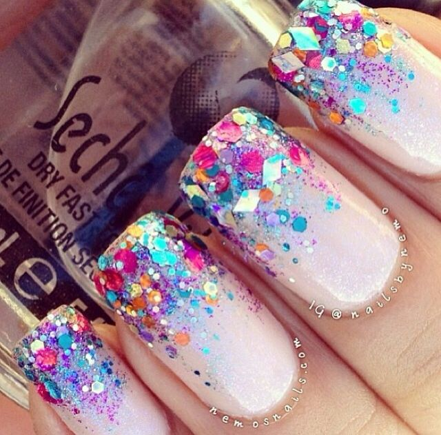 Glitter tip French manicure nails - Best 25+ Birthday Nail Designs Ideas On Pinterest Fun Nails