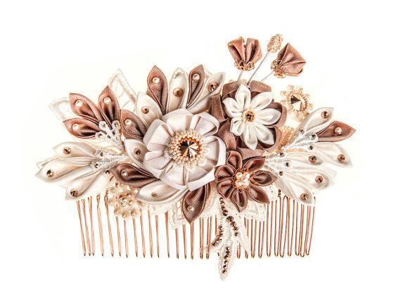Maia Ivory blush & rose gold Bridal Headpiece by PetiteLumiereCo