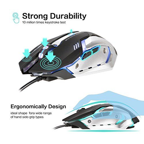 4e76b58d8ba LINGYI Gaming mouse, 6 Programmable Buttons, 4 Adjustable DPI Levels, 4  Circular & Breathing LED Light, Wired Mouse Used for games and office[  Black ]