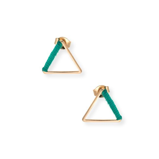 Triangle Wrapped Fabric Stud Earrings