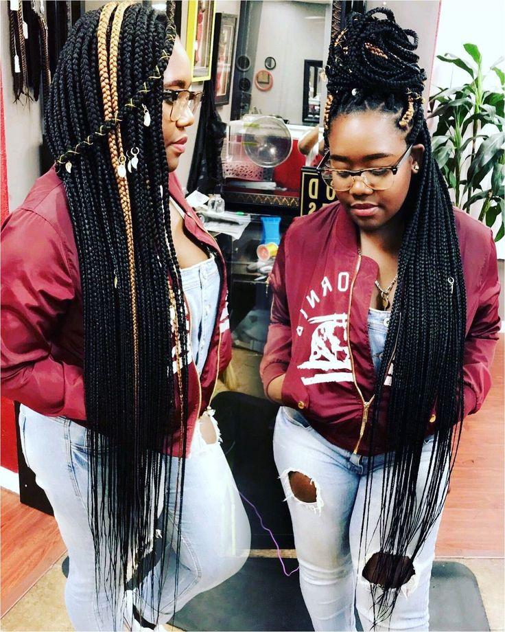 Knee Length Box Braids #BraidHairstyles #BlackBraids Click