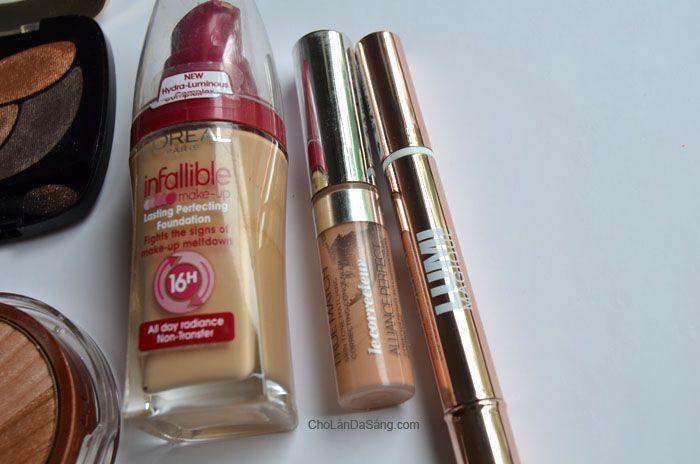 Hướng Dẫn Trang Điểm Đơn Giản Với Màu Môi Sáng Loreal, L'Oreal Infallible Make-up Lasting Perfecting Foundation, L'Oreal True Match Conceale...