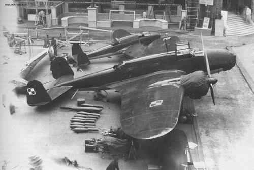 Foreground: Polish bomber PZL.37 Łoś - Moose Background: Polish fighter PZL.38…