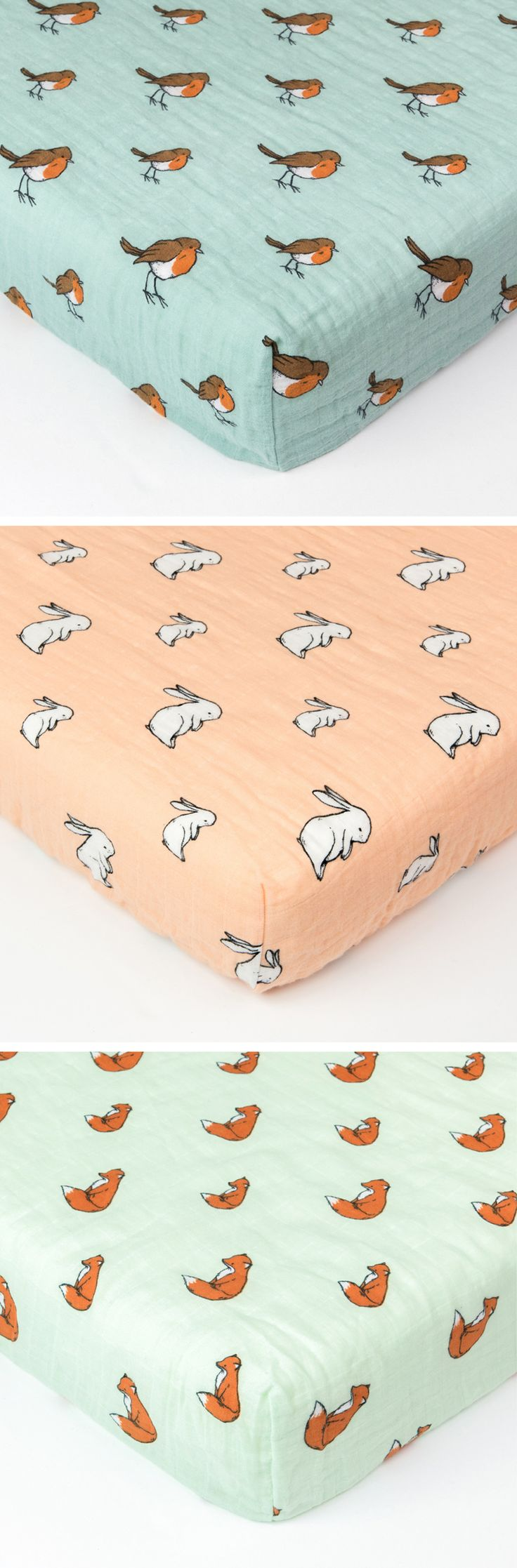 Say hello to our Woodland Friends baby cot bed or crib fitted sheet. 3 beautiful designs perfect for a woodland themed nursery, they've been carefully crafted to help your little one get a blissful sleep.  Our cot bedding sheets are made from the finest GOTS organic cotton muslin thread, and are elasticated to fit cot or crib mattresses from 130x70cm to 140x70cm. From top to bottom: Little Robin in muted blue. Long Ear Bunny in peach blush. Gentle Fox in mint green.
