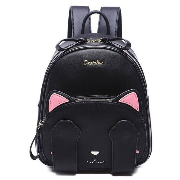 Cute Cat Pattern and Black Design Backpack For Women ($42) ❤ liked on Polyvore featuring bags, backpacks, day pack backpack, cat bag, backpack bags, cat backpack and rucksack bag