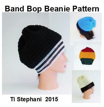 PATTERN ~ Band Bop Beanie by T Stephani, Instant Download, pdf. Pattern, Detailed Crochet Hat Instructions by TiStephani on Etsy