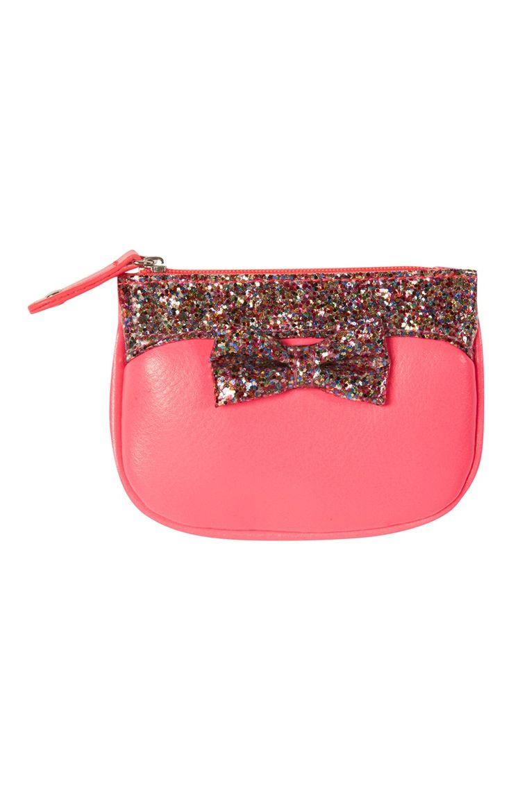 Primark - Roze portemonnee met glitterstrik