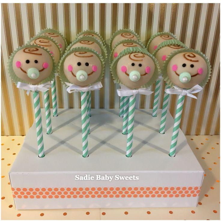 Baby Shower Boy Face Cake Pops!