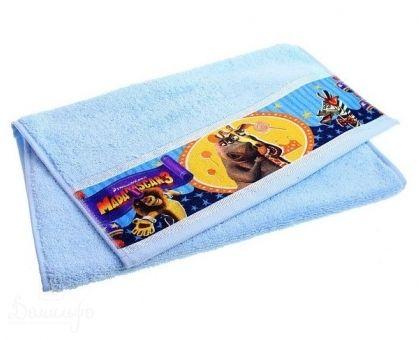 Купить полотенце детское с бордюром МАДАГАСКАР Мелман голубое 50х90 от производителя Непоседа (Россия)