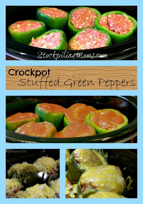 Crockpot Green Stuffed Peppers are amazing! So simple to cook in your crockpot! #crockpot #stuffedgreenpeppers #cleaneating