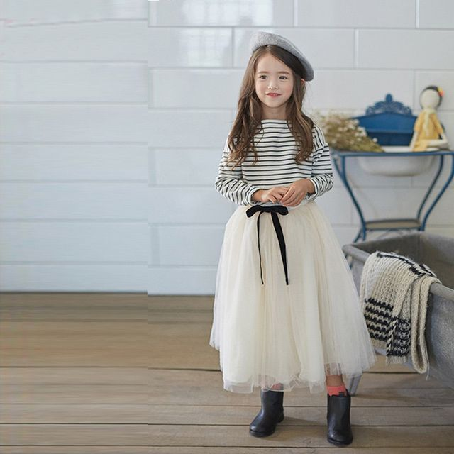 Девушки установить 2016 новых Корейских детская одежда подросток ребенок дети полосатый полный майка + длинные юбки 2 шт. наборы для возраста 4-12 #men, #hats, #watches, #belts, #fashion