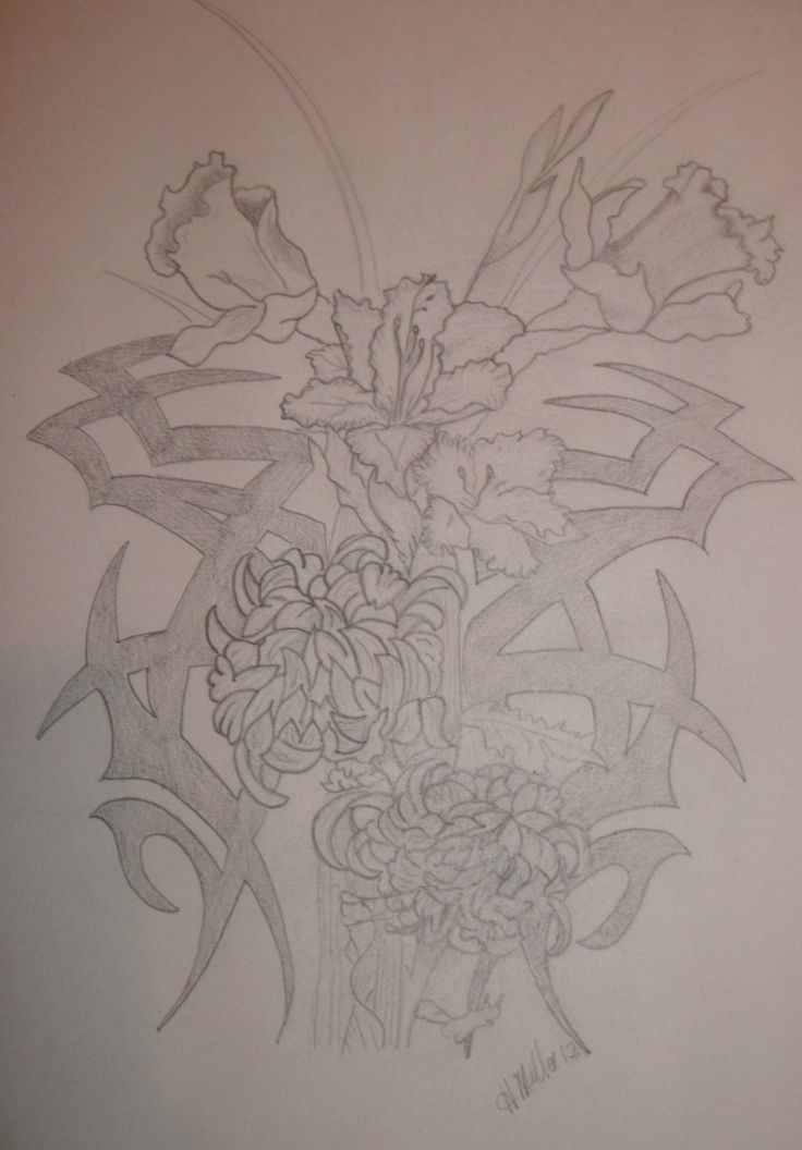 Tatoo design...family birth flowers and tribal symbol for family