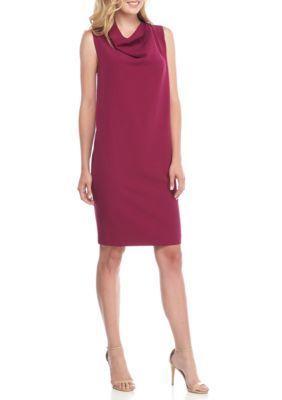 Anne Klein Women's Cowl-Neck Shift Dress - Claret - Xs