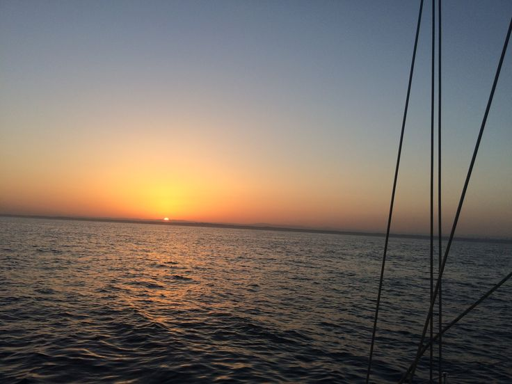 sun set at the open sea. on the way from Greece to Israel