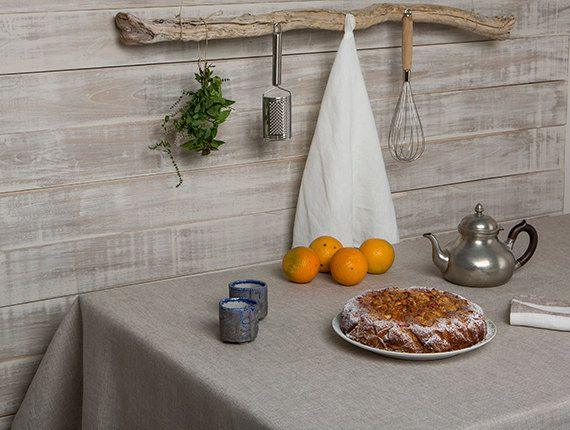 Linen tablecloth-Taupe color tablecloth-Dining by LinenHomeDecor