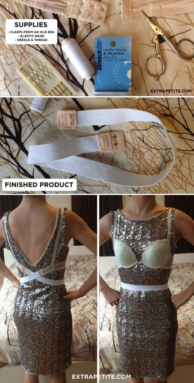 For a dress with a low back, follow these steps to create an extender. | 17 Ridiculously Good Tips For Anyone Who Wears A Bra