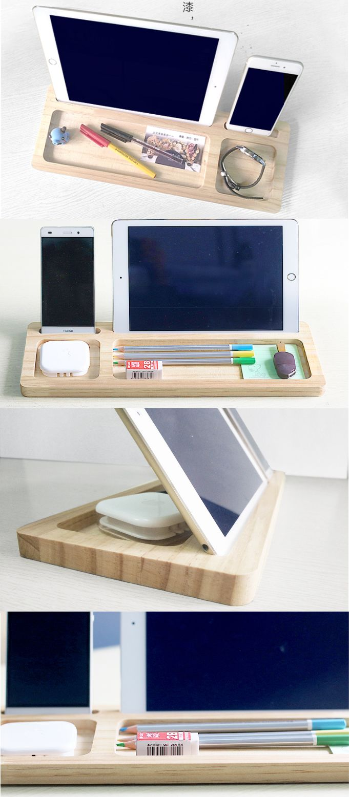 Wooden Pen Pencil Holder Stand iPhone iPad Smart Phone Holder Dock  Business Card Display Stand Holder Office Desk Supplies Stationary Organizer