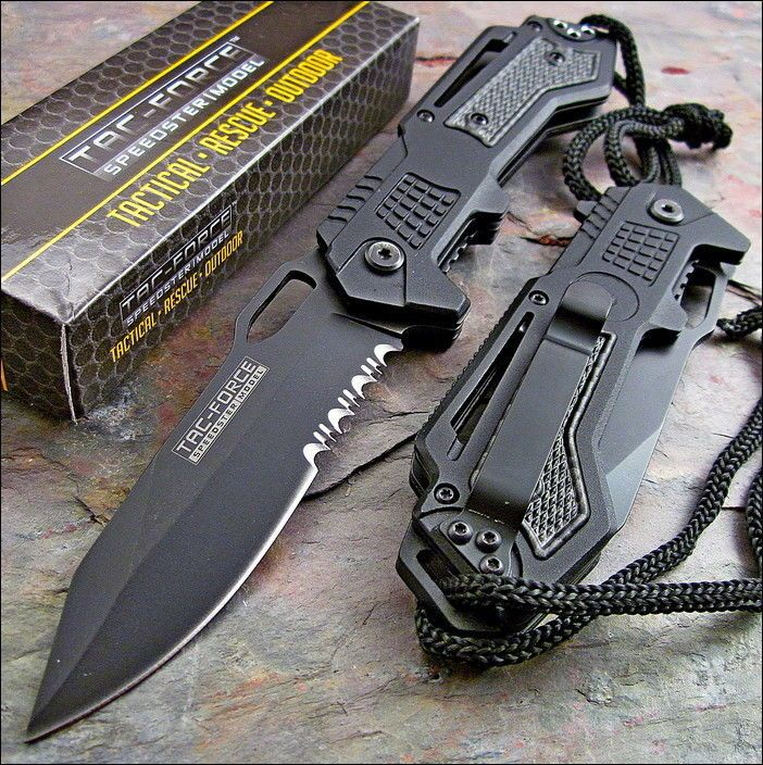 TAC FORCE Spring Assisted Opening Black Tactical Rescue Folding Pocket Knife NEW in Collectibles, Knives, Swords & Blades, Folding Knives | eBay
