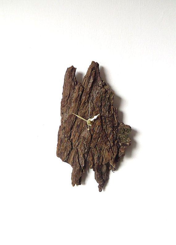 Driftwood Bark Clock - Wall Beach Clock - Recycled Wood - Rustic Natural Clock - Wood Nautical Clock