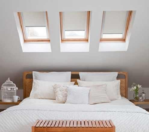 Attic bedroom with velux window skylights over bed i like for Bedroom skylight
