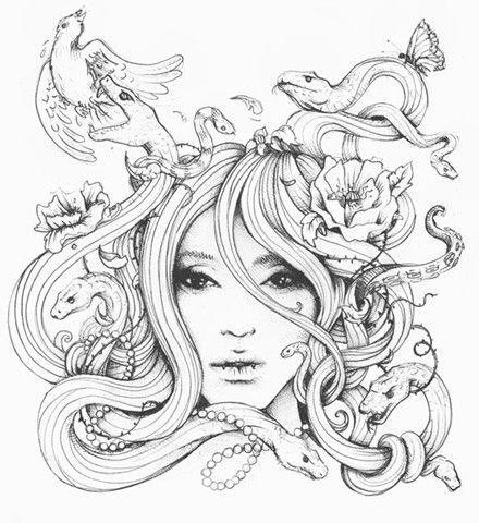By Degefors Medusa Tattoo Design Justchrishere Haircut