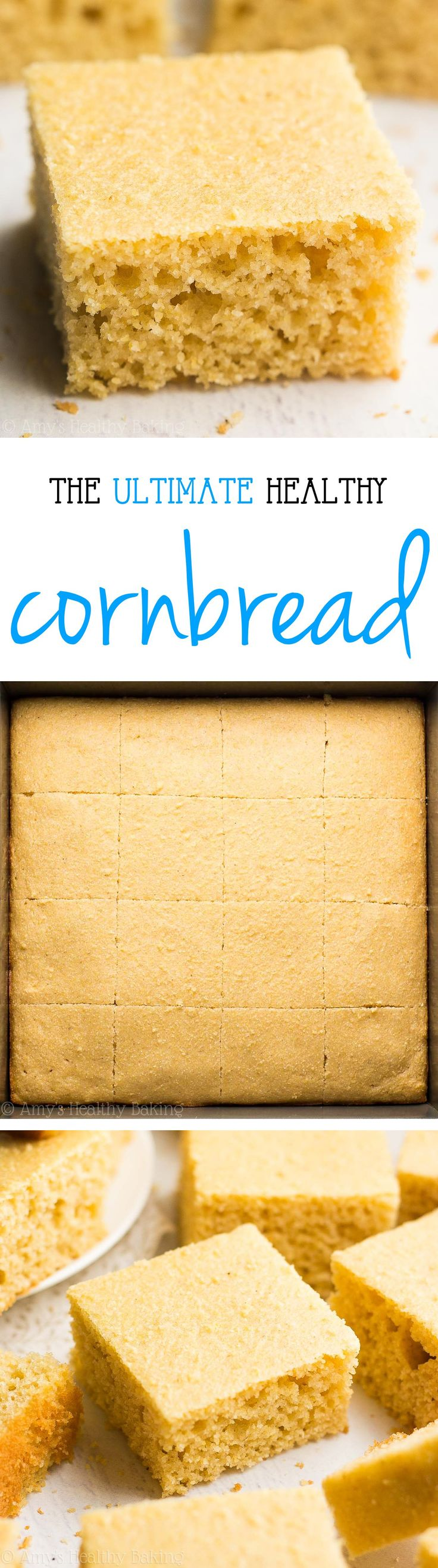 The Ultimate Healthy Cornbread -- easy, perfectly tender & only 73 calories! It doesn't taste healthy at all! You'll never use another recipe again! | best cornbread recipe | easy cornbread recipe | homemade cornbread with honey | best cornbread from scratch
