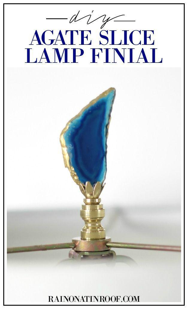 Diy Agate Slice Lamp Finials Lamp Finial Make A Lamp Make A Lampshade