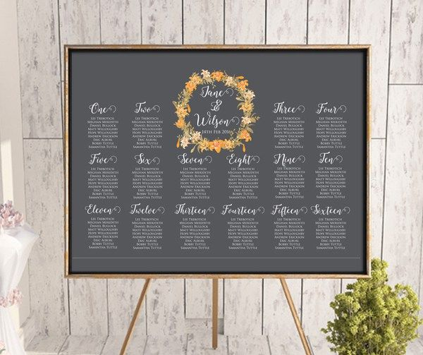 autumn-spring-orange-wedding-seating-chart-find-your-seat-guest-list