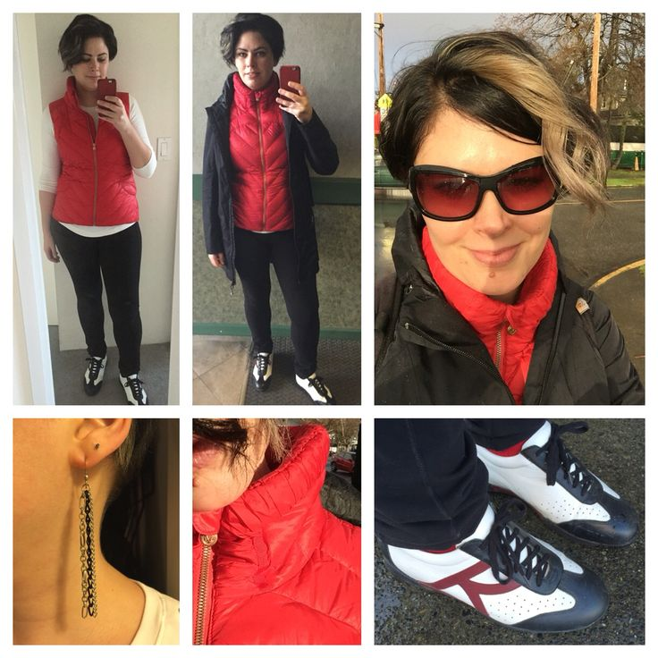 Dec. 9, 2015: casual, as I was volunteering with my GoGirls! group.   I developed this puffy vest, at lululemon, it's down filled. I never owned one that I wore before this one. Unless you count the vintage striped poly fill one I had as a teen. I love the cozy collar, don't need a scarf. The zip is rose gold, which I was happy about. I've never been a fan of rose or gold, but combined I've always enjoyed it. It's not getting painted, it's a very high quality zipper. I find that happens, I…