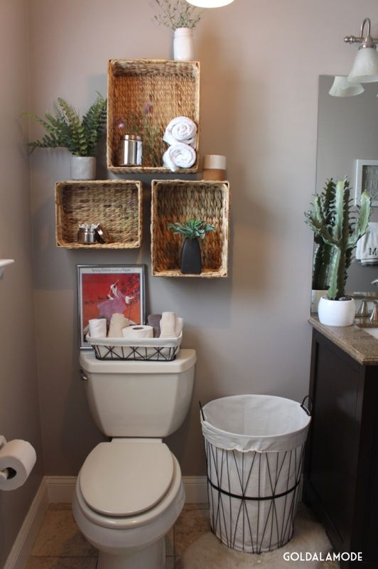 Bathroom shelves with a twist sponsored pin homegoods for Bathroom basket ideas for wedding