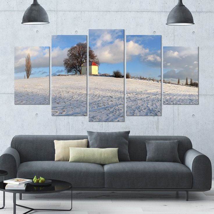 Designart 'Winter Landscape with Chapel' Modern Landscpae Wall Art - 60x32 5 Panels